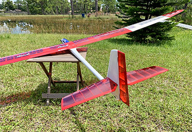 Store Display Marabu 2.75E F5J/ALES Electric Sailplane (Receiver Ready) Red/Clear