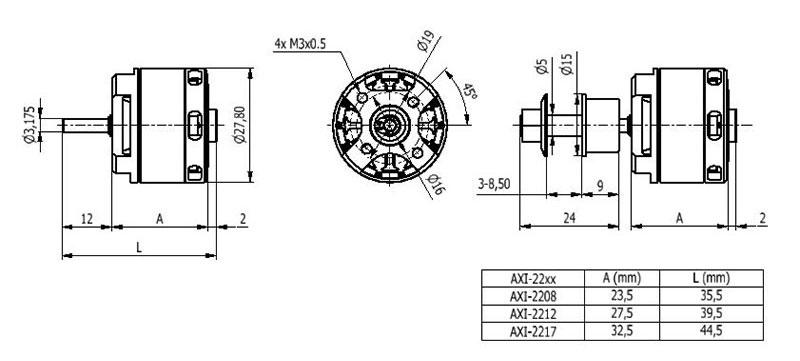 AXi 370 2208/26 Outrunner Brushless Motor V2