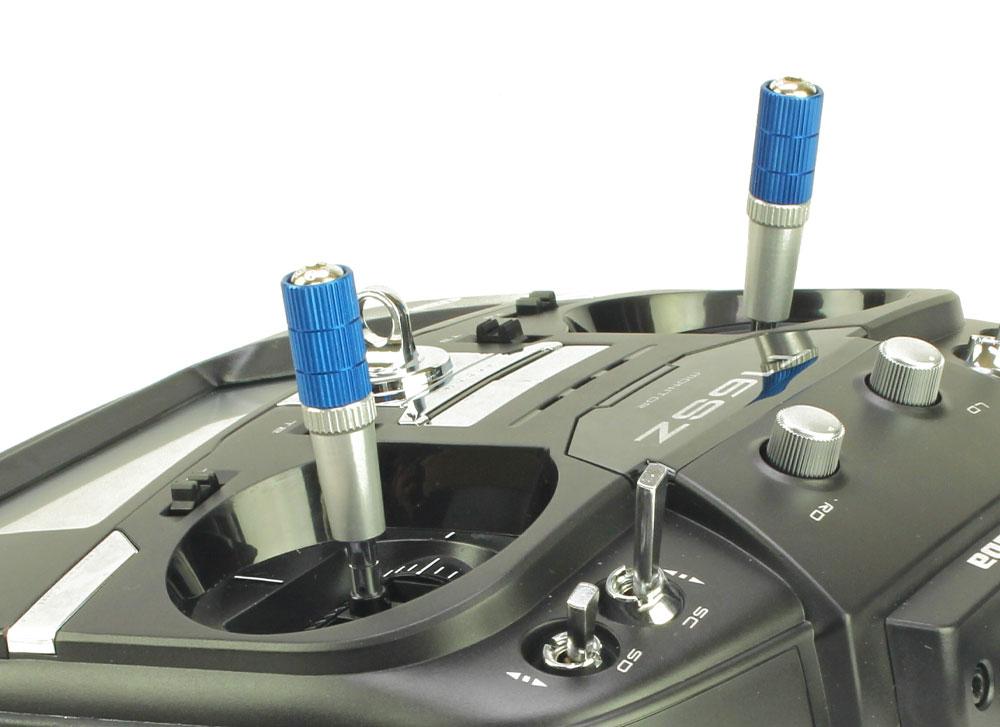 Transmitter Stick Ends V4 40mm Jr Spektrum M4 Blue Silver