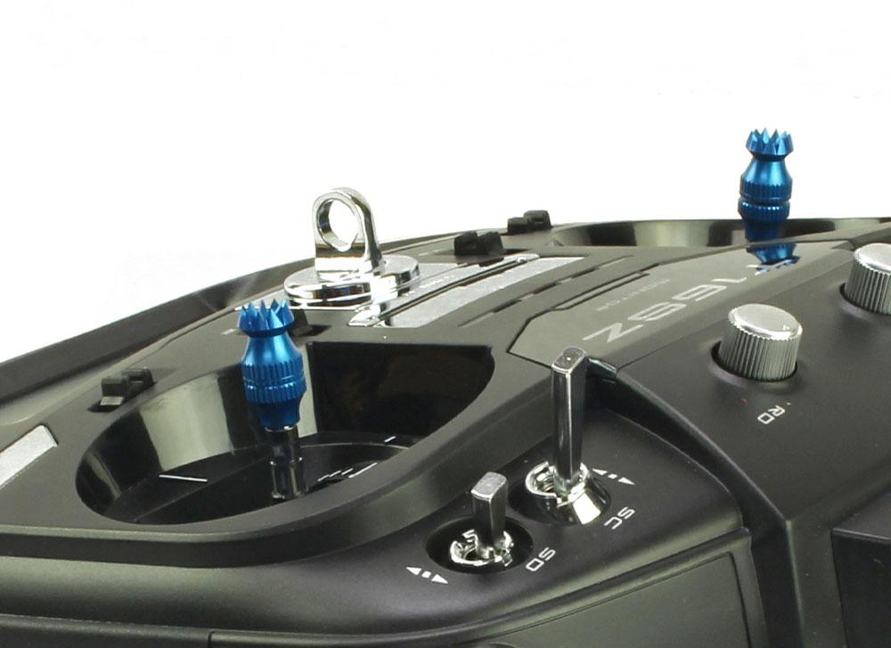 Transmitter Stick Ends V2 16mm Dx6i Dx8 Hitec Futaba M3 Blue