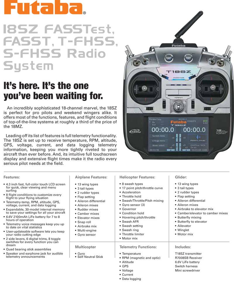 Futaba T18SZA/SZH 2.4Ghz, Rx R7008SB Radio