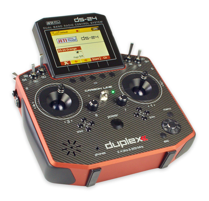Jeti Duplex DS-24 Carbon Red 2.4GHz/900MHz w/Telemetry Transmitter Only Radio