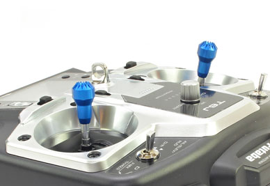 Transmitter Stick Ends V5 22mm Dx6i Dx8 Hitec Futaba M3 Blue