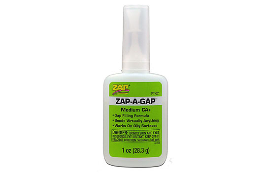 Zap CA Medium Glue 1/4-1/2-1-2-4 oz. (7g/14g/28g/56g/115g)