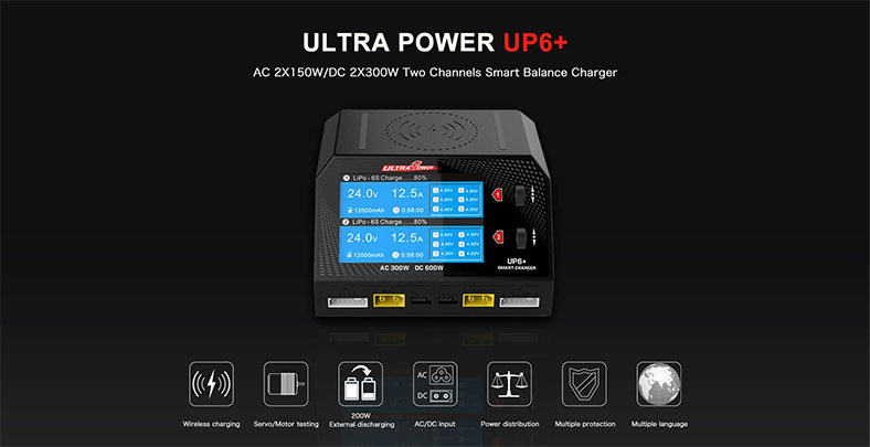 Ultra Power UP6+ Plus AC/DC Multifunction Charger, Balancer, Servo/Signal Tester (6S/16A/600W)