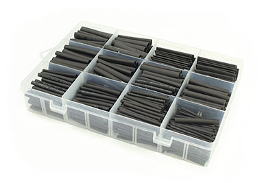 Heat Shrink Tubing Assortment Black (8 Sizes/625)