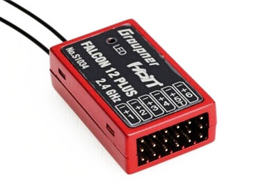 Graupner HoTT Falcon 12 2.4GHz Receiver Air/Heli/Multi-Rotor Stabilization w/Telemetry (6 Ch.)