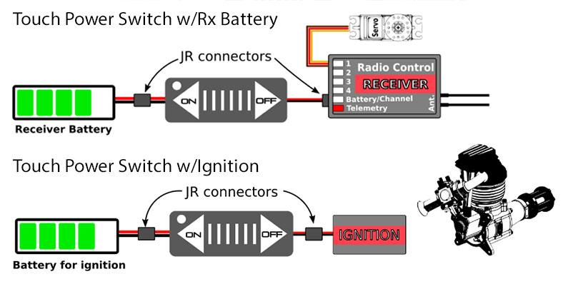 Elite Power Receiver & Ignition Kill Sliding Touch Switch 4.5-17V/10A JR (Mechanical Switch Replacement)