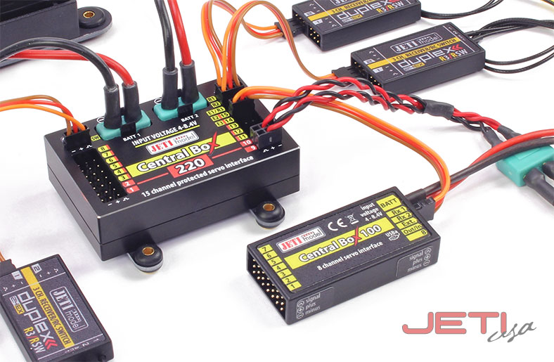Jeti Central Box 220 Power Distribution Combo w/Magnetic Switch & R3/RSW Receivers (2)